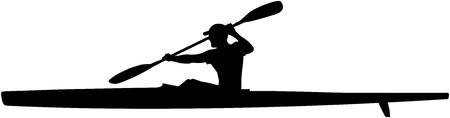 schwarze Silhouette Athlet Kayaker Sport Kajak mit Paddel Vektorgrafik