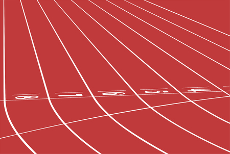 competitions: red track running sports stadium finish line Illustration