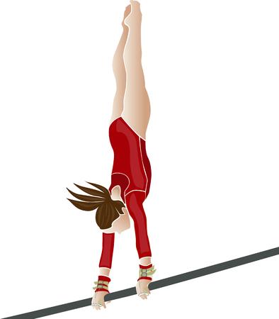 Gimnasta joven atleta femenina en la ilustración vectorial Foto de archivo - 69596457