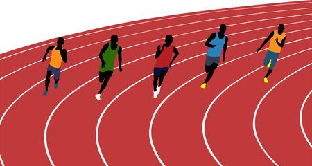 hombre atletas corredores corriendo de sprint en la ilustración vectorial estadio