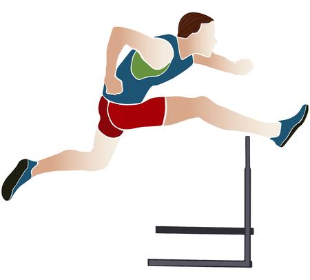 athlete runner hurdles colored silhouette vector illustration