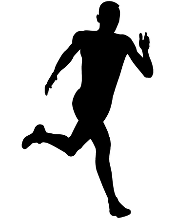 athlete sprinter runner running black silhouette vector illustration