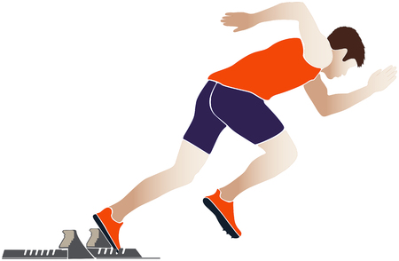 start sprinter athlete runner starting blocks vector illustration