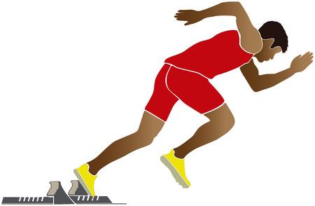 start of sprinter runner starting blocks vector illustration Illustration