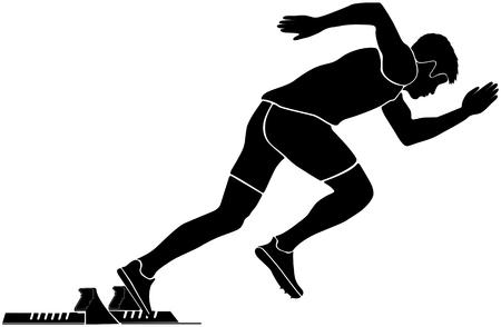 black silhouette start sprinter runner in starting blocks