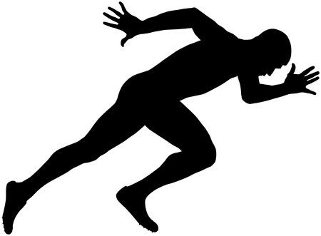 muscular: muscular sprinter runner explosive start and run black silhouette Illustration