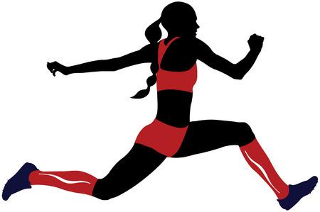 atleta femenina salto triple en calcetines de compresión