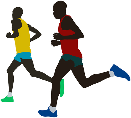 two kenyan runner athlete leaders run marathon