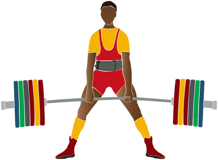 Young athlete powerlifter deadlift in powerlifting competitions