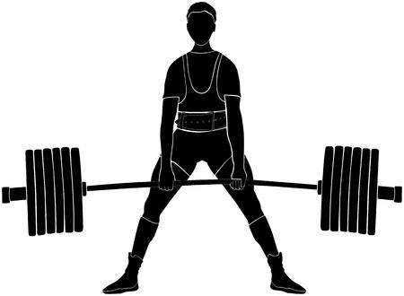 male athlete powerlifter deadlift in powerlifting black silhouette Illustration