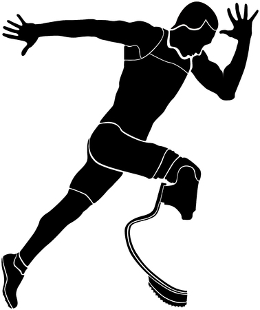 amputee: Explosive runner athlete disabled amputee black silhouette