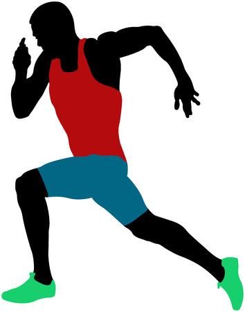 Muscular sprinter athlete runner sprinting colored silhouette