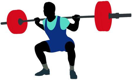 macho atleta powerlifter squat en powerlifting silueta de color