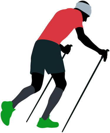 male runner with trekking poles running uphill in compression socks Illustration