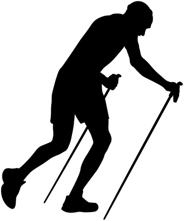 uphill: male runner with trekking poles running uphill black silhouette
