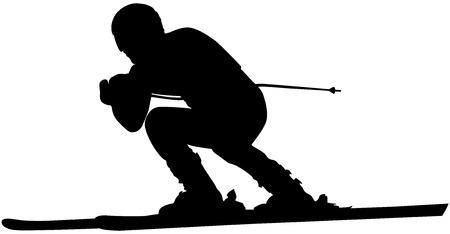 alpine skiing male athlete downhill black silhouette Ilustração Vetorial