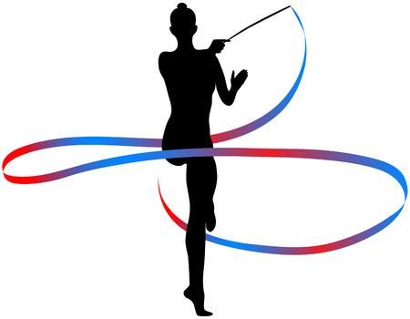 Young girl gymnast with color ribbon for rhythmic gymnastics