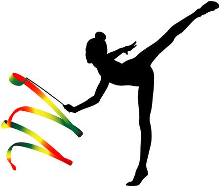 Girl gymnast black silhouette and color ribbon for rhythmic gymnastics Vettoriali