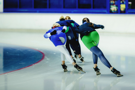 group women speed skaters on warm-up competition in speed skating Stock fotó