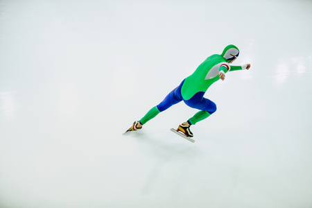 athlete speed skater in speed skating competitions on white background Stock fotó