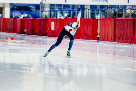 dynamic female speed skater competition in speed skating Stock fotó