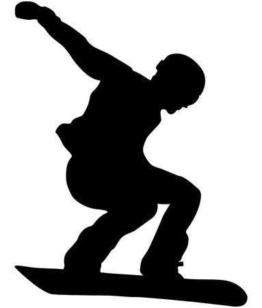 mmale athlete snowboarder jump black silhouette.