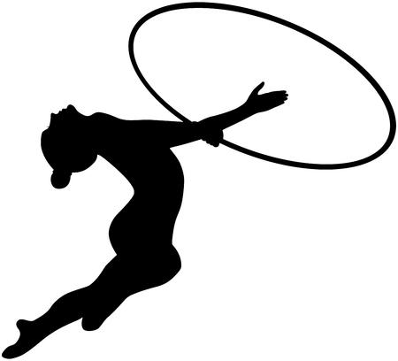 girl athlete gymnast with black Hoop rhythmic gymnastics