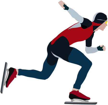 color silhouette man speedskater of speed skating competitions Illustration