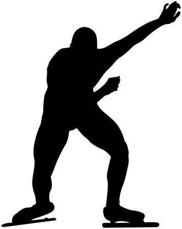 Start athlete male speedskater competition in speed skating black silhouette