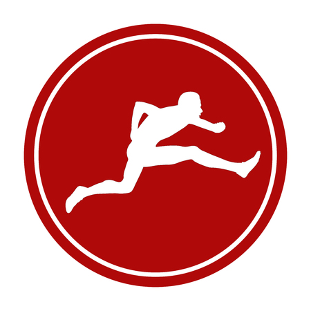 Icon running hurdles young male athlete white silhouette red circle