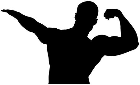 Bodybuilder athlète silhouette noire avec un bras musclé gauche levé Banque d'images - 76469551
