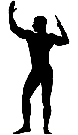 Black silhouette athlete bodybuilder with raised muscular arms