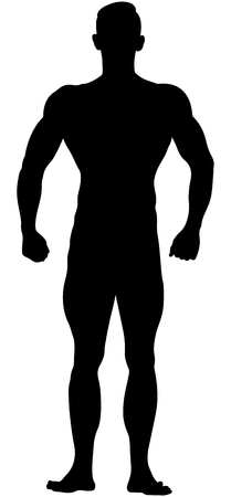 real muscular athletic bodybuilder in relaxed pose black silhouette