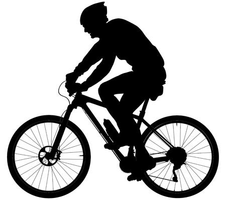 alter Mann Radfahrer auf Sport Mountainbike schwarz Silhouette