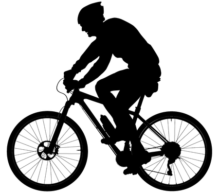 old man cyclists on sports mountainbike black silhouette