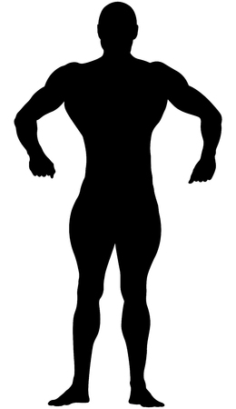 Athletic bodybuilder in full growth in relaxed pose black silhouette