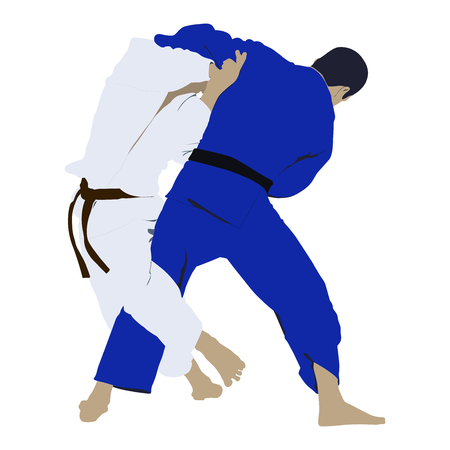 back belt: judo wrestling fight two judoka. vector illustration Illustration