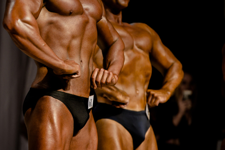 two athletes bodybuilder in bodybuilding competitions