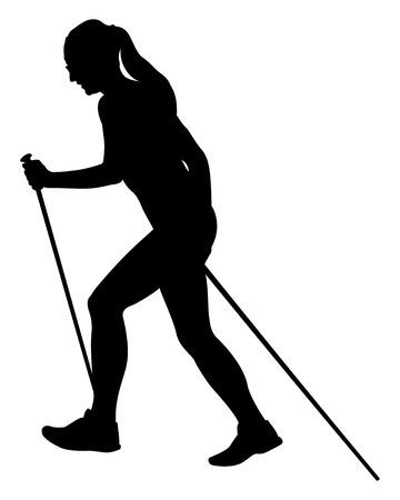 chica corredor skyrunner con bastones de trekking corriendo silueta negra cuesta arriba Ilustración de vector