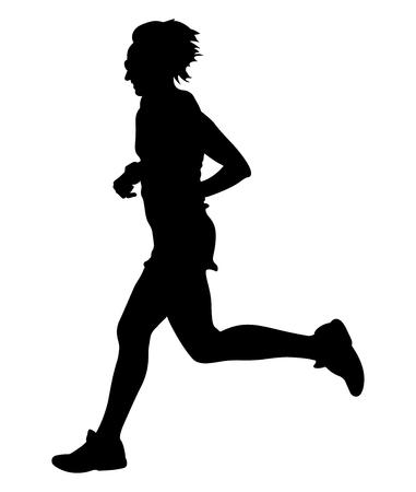 young woman runner running marathon in black silhouette Vettoriali