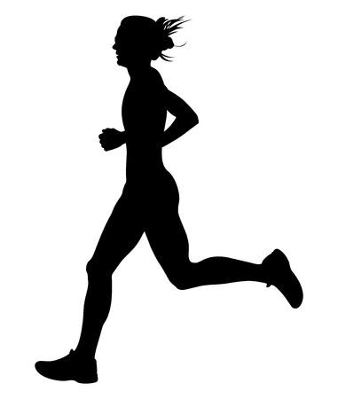 slender young woman athlete runner black silhouette Illustration