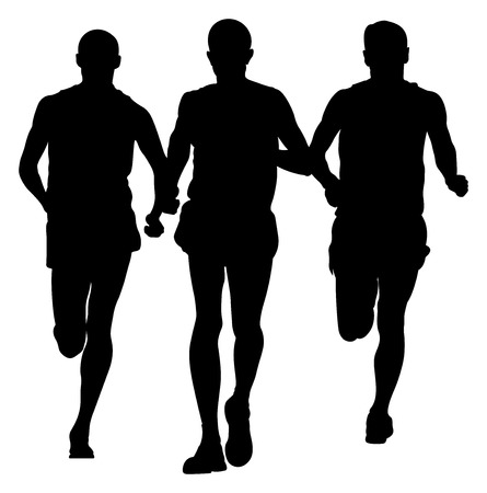 Group of runners men running together black silhouette