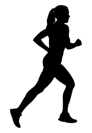 Girl athlete runner running side view black silhouette