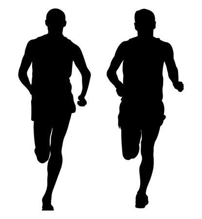 Two male runners runnning together black silhouette