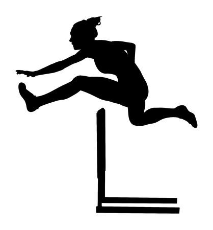 100 m hurdles woman runner athlete black silhouette