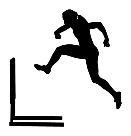 running hurdles woman runner athlete black silhouette Illustration