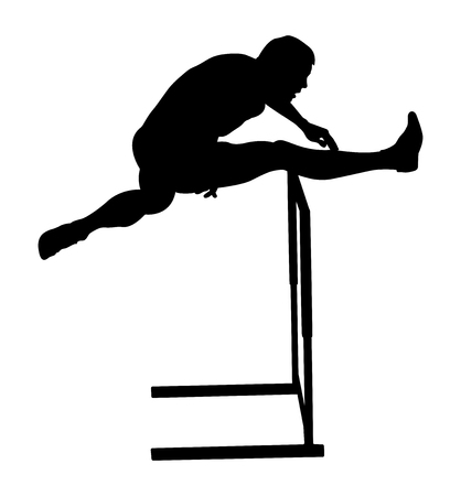 crossing hurdles male runner athletics black silhouette Illustration