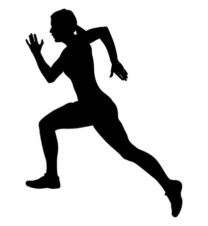 black silhouette girl athlete runner fast running Illustration