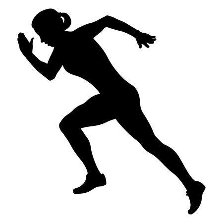 corridore di atleta della ragazza che inizia correndo siluetta nera