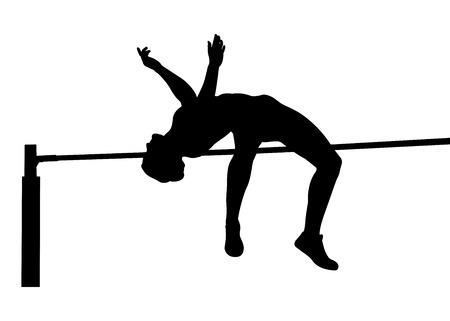 Meisje atleet jumper high jump zwart silhouet